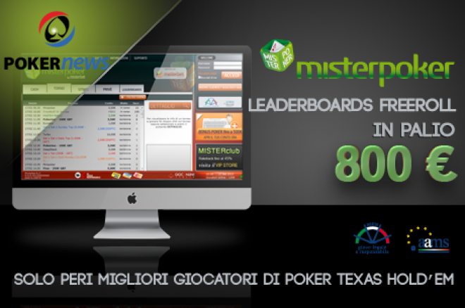 MisterPoker: Scala le classifiche e partecipa al Leaderboards Freeroll 0001