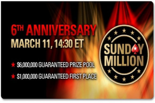 PokerStars Sunday Million täyttää kuusi vuotta sunnuntaina; $6 miljoonaa takuuna 0001