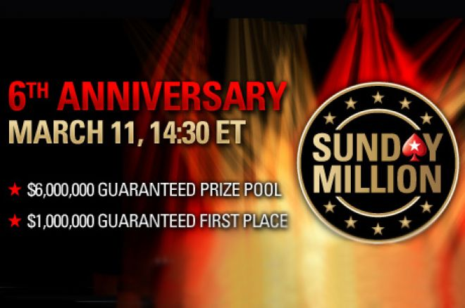 PokerStars Sunday Million šodien paliek seši gadi; $6 miljoni garantēti 0001