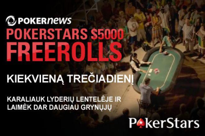 Nepražiopsokite savaitinio PokerNews $5,000 nemokamo turnyro PokerStars kambaryje! 0001
