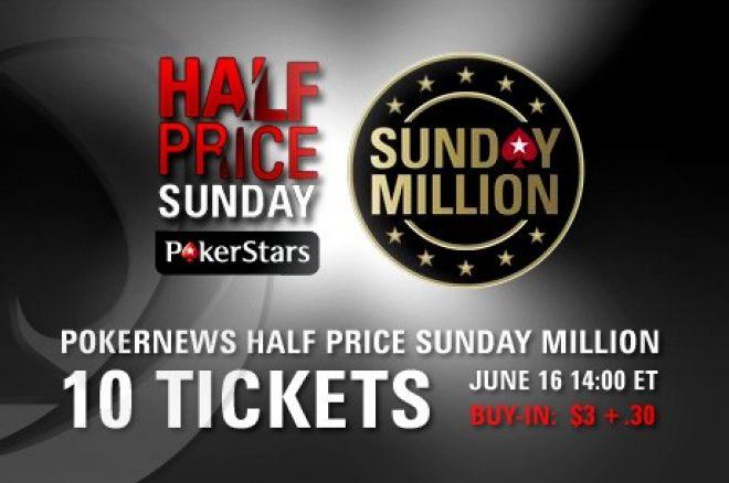 Vinn 1 av 10 billetter til PokerStars Sunday Million på søndag 17. juni 0001