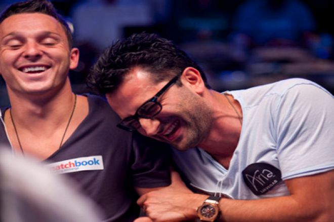 Trickett and Esfandiari share a moment of laughter