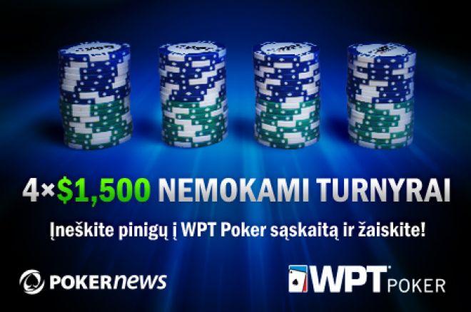 Įneškite pinigų į WPT Poker ir žaiskite $6,000 vertės nemokamuose turnyruose! 0001