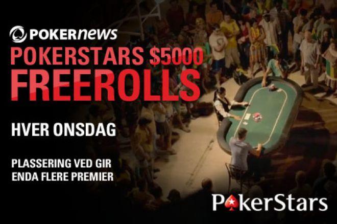 Nok en $5 000 freeroll venter deg hos PokerStars 0001