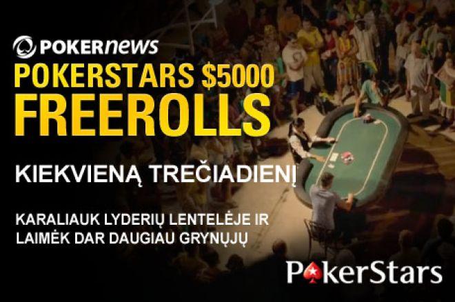 Dalyvaukite sekančiame PokerStars $5,000 nemokamame turnyre! 0001