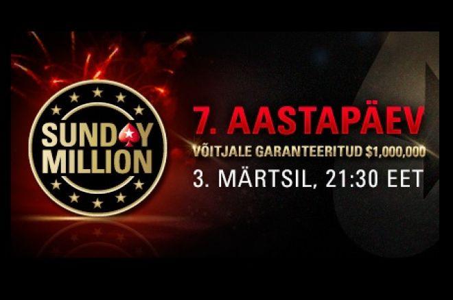 Sunday Million sünnipäevaturniir garanteerib võitjale miljon dollarit! 0001