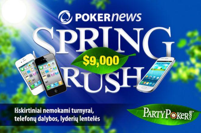 """Dalyvaukite PartyPoker $9,000 vertės """"Spring Rush"""" akcijoje! 0001"""