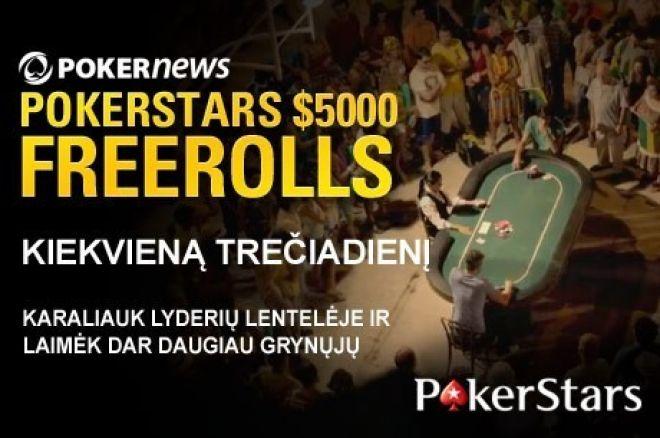 Dalyvaukite sekančiame PokerStars $5,000 nemokamame turnyre! Liko tik šeši! 0001