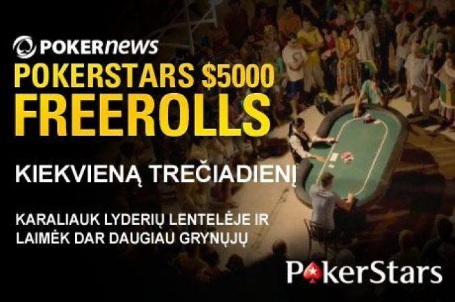 Liko tik trys $5,000 savaitiniai nemokami turnyrai, $67,500 PokerStars ir PokerNews nemokamų turnyrų serijoje. 0001