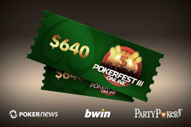 Žaisk pagrindiniame Pokerfest III turnyre tik už  $1. Prizinis fondas - $1,500,000 0001