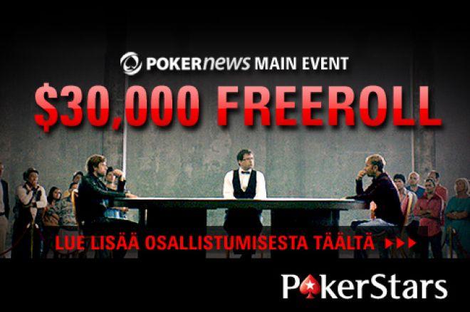 Pääse mukaan PokerNews $30,000 Main Event Freerolliin jo tänään PokerStarsilla! 0001