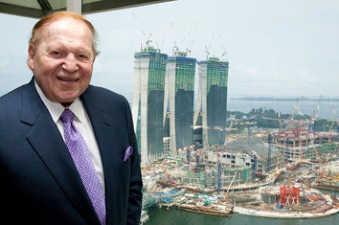Las Vegas Sands chairman Sheldon Adelson in Singapore in 2009, with Marina Bay Sands construction sites in the background.