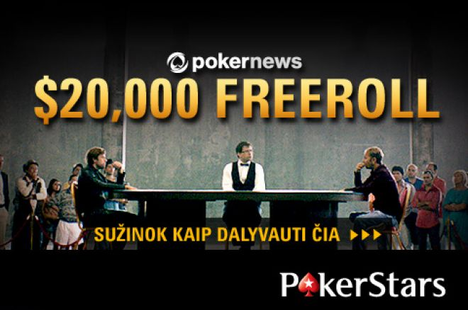 PokerNews kviečia dalyvauti dar viename, 20,000 dolerių vertės, nemokamame turnyre 0001