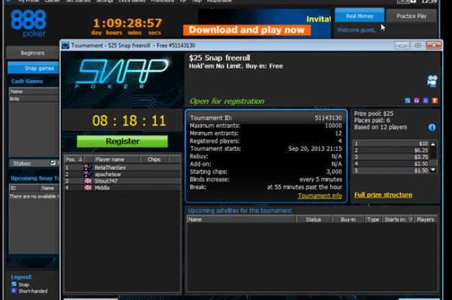 888poker объявил об официальном запуске Snap-покера 0001