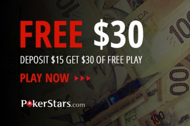 Receive $30 free at PokerStars through PokerNews Canada 0001