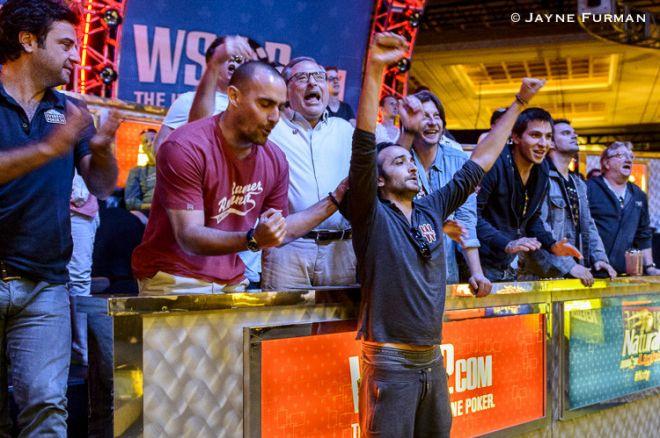 Davidi Kitai celebrates his 3rd WSOP bracelet.