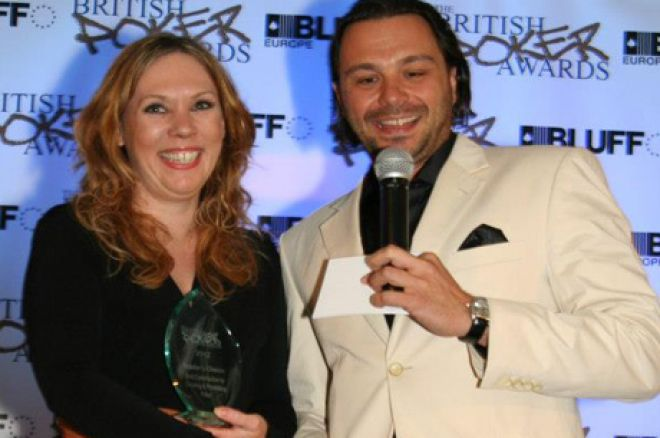 Kirsty Thompson collecting her British Poker Award