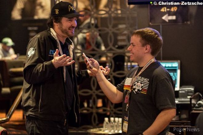 Phil Hellmuth being interviewed by PokerNews' Chad Holloway.