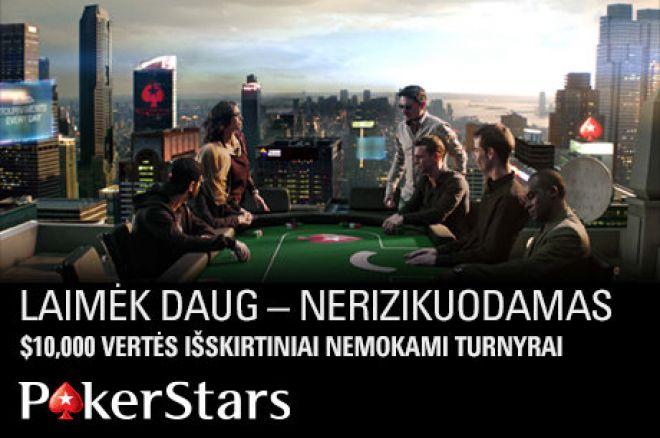 Žaiskite išskirtiniame $10,000 nemokame turnyre PokerStars kambaryje 0001