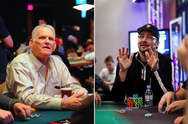 TJ Cloutier (left), Phil Hellmuth (right)