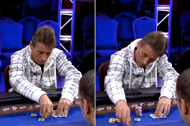 A player double-checks his hole cards before making a postflop bet