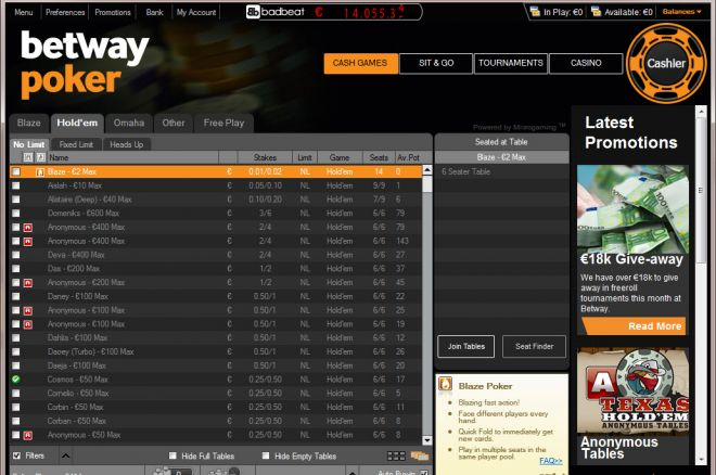 Easy Freerolls at Betway Poker