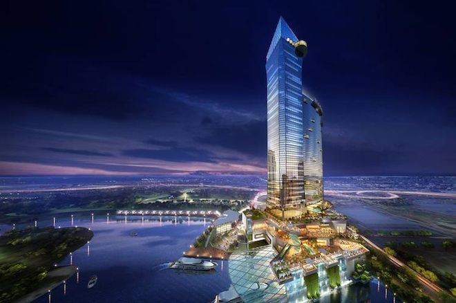 Artistic rendering of proposed Liberty Rising Casino in Jersey City