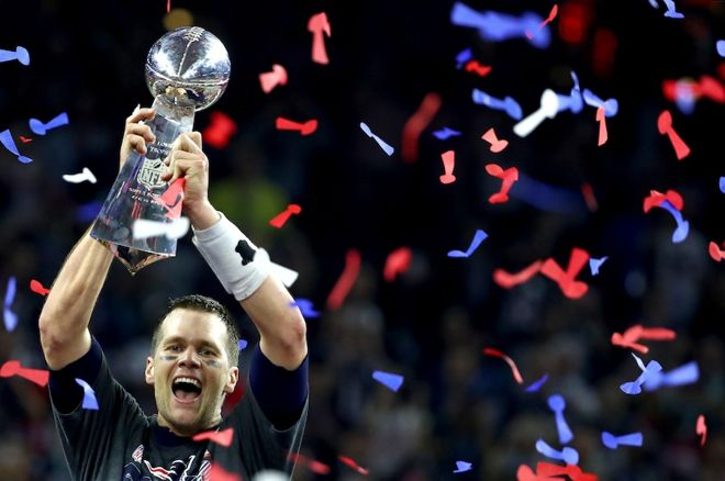 New England Patriots QB Tom Brady after winning Super Bowl LI
