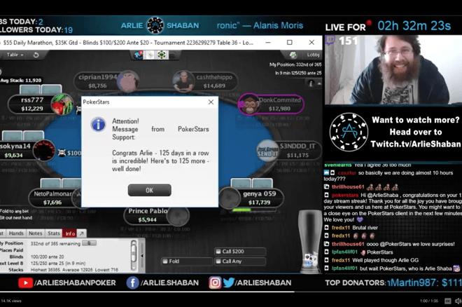 Pokerio transliuotojo ištvermė: 1,000 valandų transliacijų per 125 dienas 0001