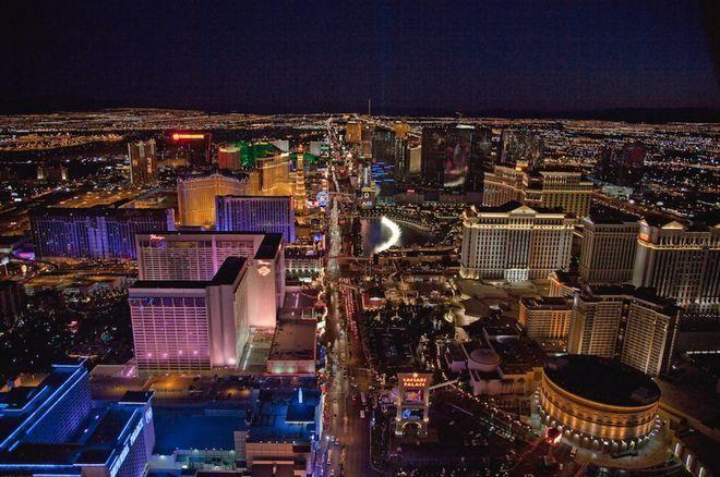 Night aerial view, Las Vegas Strip