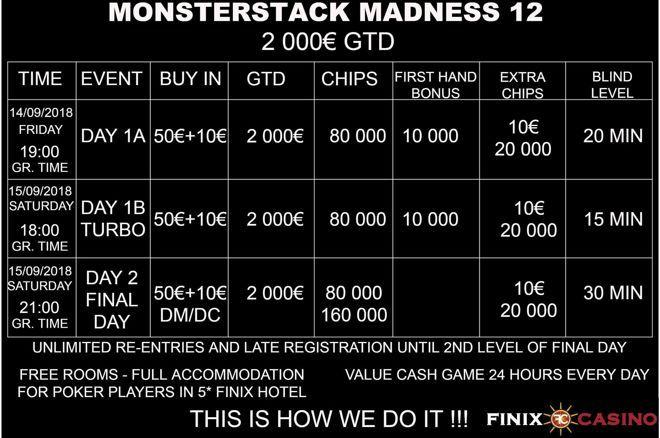 Monsterstack Madness #12 με €2,000 gtd 14-15 Σεπτεμβρίου στο Finix Casino 0001