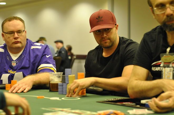 Dan Wagner has more than 100 big blinds at the final table of HPT The Meadows.