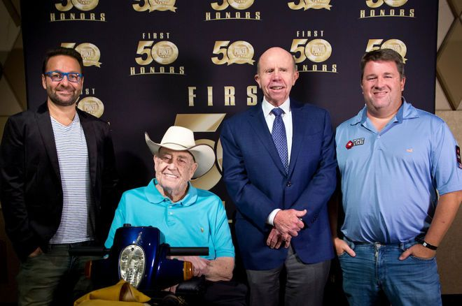 Daniel Negreanu, Doyle Brunson, Phil Hellmuth (not pictured) and Chris Moneymaker received WSOP First Fifty awards.