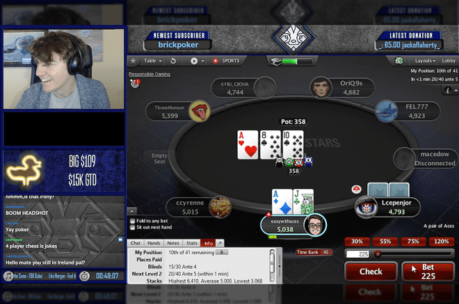 "Fintan Hand plays online poker on his Twitch channel ""EasyWithAces"""