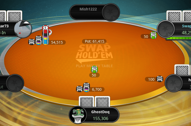 Swap hold'em allows players to switch out their hole cards.