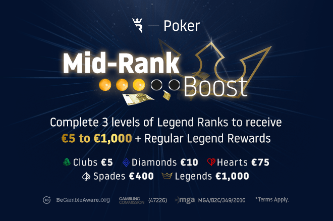 Become a Legend today on Run It Once Poker! Earn up to €1,000 in Mid Rank Boost promotion June 1-7th on Run It Once Poker