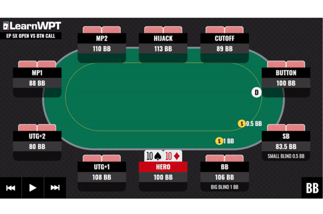 Play real solved hands against a perfect opponent in a wide variety of postflop scenarios with the WPT GTO Trainer
