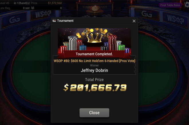 Jeffrey Dobrin Wins WSOP Online Event #80: People's Choice Event [Pros Vote] ($189,666)