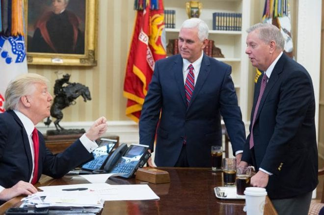 Lindsey Graham, Donald Trump and Mike Pence
