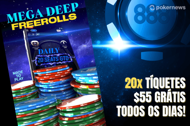 Ganhe tíquetes de US$ 55 nos Mega Deep Freerolls do 888poker