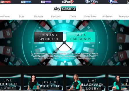 Sky Casino Homepage