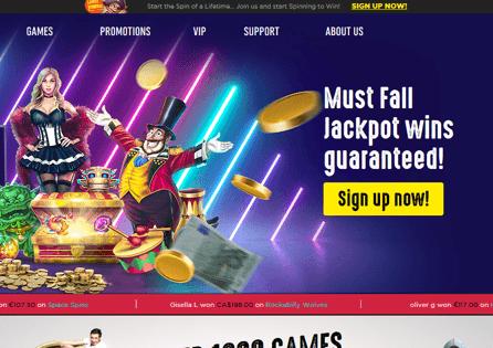 SpinIt Casino Homepage