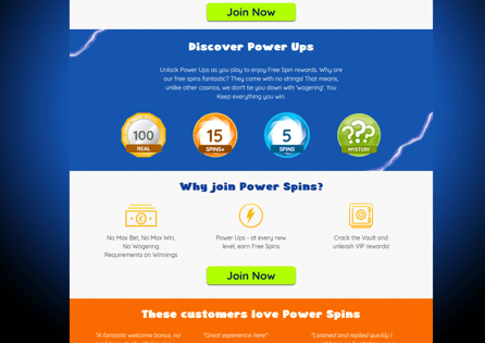 PowerSpins Casino Homepage