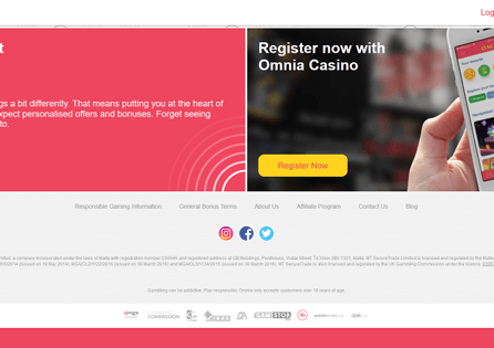 Omnia Casino Homepage