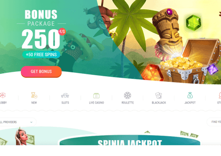 Spinia Casino Homepage