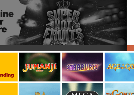 Look up trending and suggested games at the Chilli Casino homepage