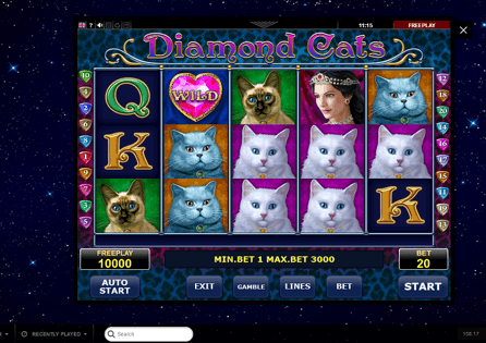 Try your luck at Diamond Cats slot at PlayAmo Casino