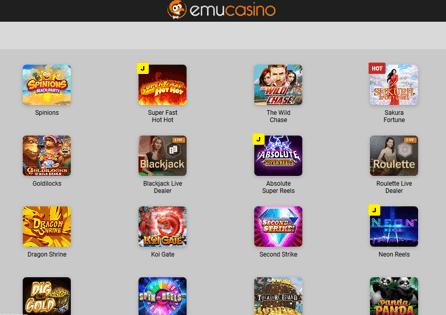Emu casino game selection