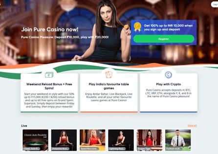 Pure Casino Homepage