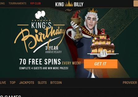 This is the King Billy Casino homepage